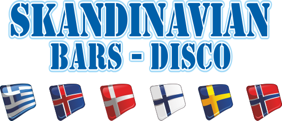 Logo of the Skandinavian Bars - Disco in Mykonos with 6 flags underneath.